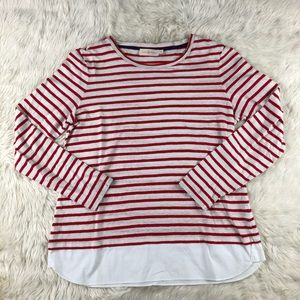 Tory Burch Striped Linen Long sleeve top